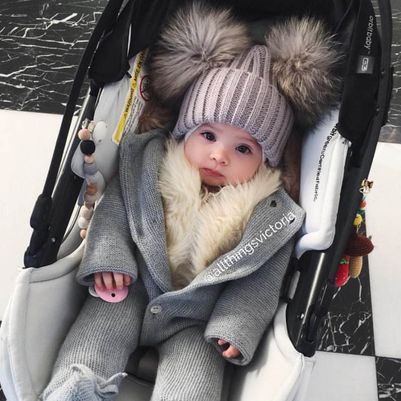 childrens winter infant baby kids faux fur hat cap beanie with 2 two double pom poms pompom beanie for boys and girls funny hat