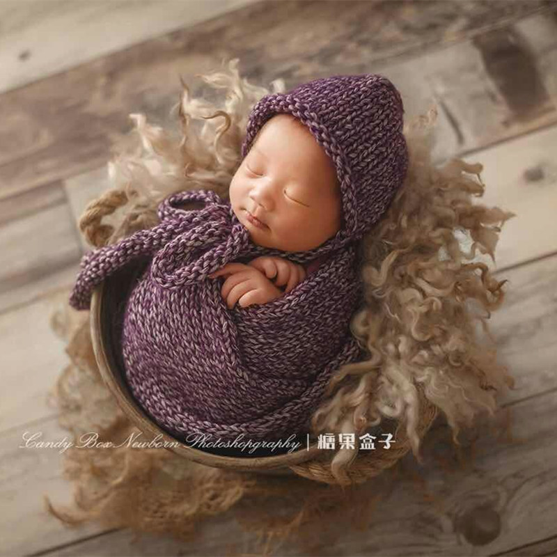 Baby thick cotton wrap blanket for newborn photo props,handmade roughness hat wrap,basket cushion blanket for baby photo props