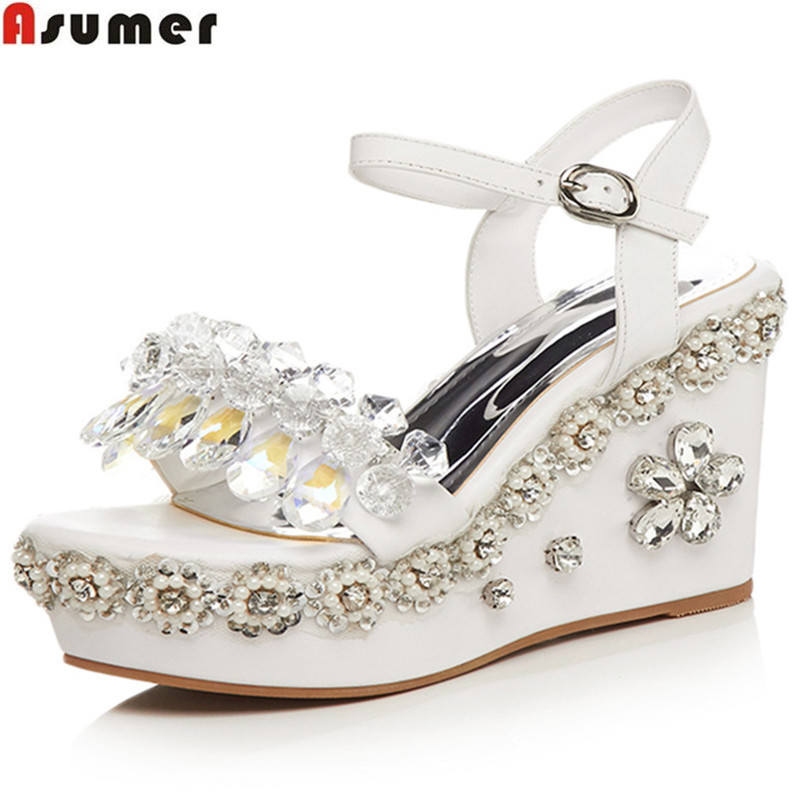 ASUMER white apricot fashion summer ladies shoes buckle elegant wedding shoes woman wedges platform women high heels sandals women creepers shoes 2015 summer breathable white gauze hollow platform shoes women fashion sandals x525 50