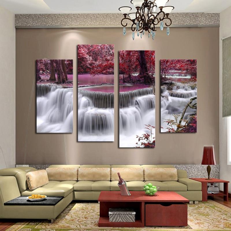 4 unids Cascada en el bosque Imagen de Arte Barato de Alta Calidad Grande HD Moderno Hogar Decoración de la Pared Impresión de la Lona Abstracta Pintura Al Óleo