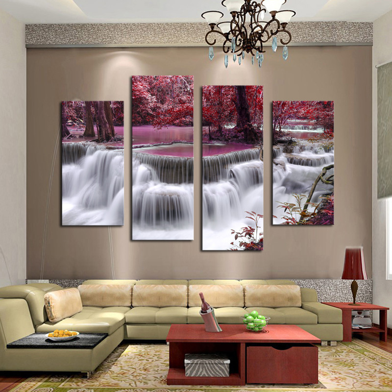 5pcs Waterfall In The Forest High Quality Cheap Art Pictures Large HD Modern  Home Wall Decor