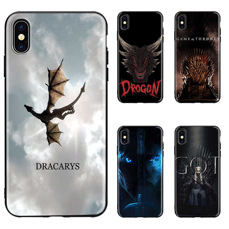 Capa macia para iphone, case de celular dracarys game thrones daenergys dragon black para iphone 8, 7, 6, 6s plus, x, xs max 5 5S se xr jon neve