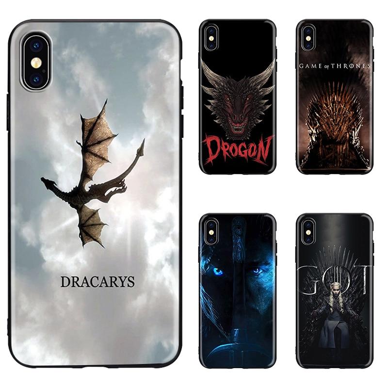DRACARYS Game Thrones Daenerys Dragon Black soft Cover Phone Case for iPhone 8 7 6 6S Plus X XS MAX 5 5S SE XR Jon Snow()