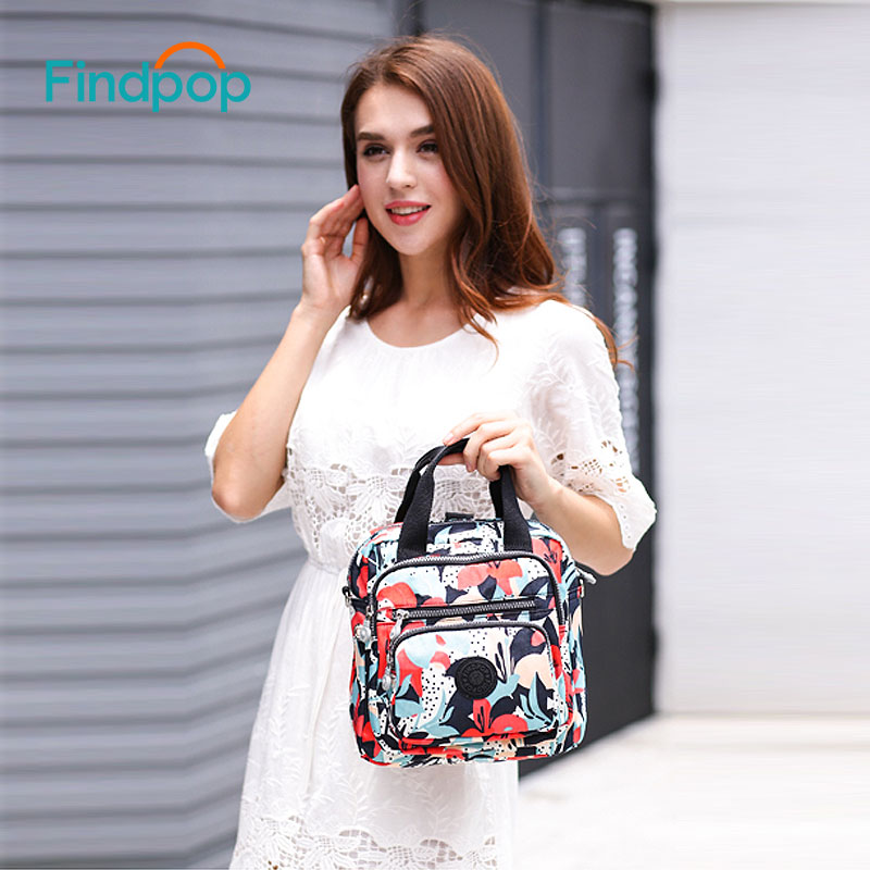 Findpop Floral Printing Handbags Women Crossbody Bags 2018 Multifunction Small Canvas Handbags Waterproof Vintage Crossbody Bags