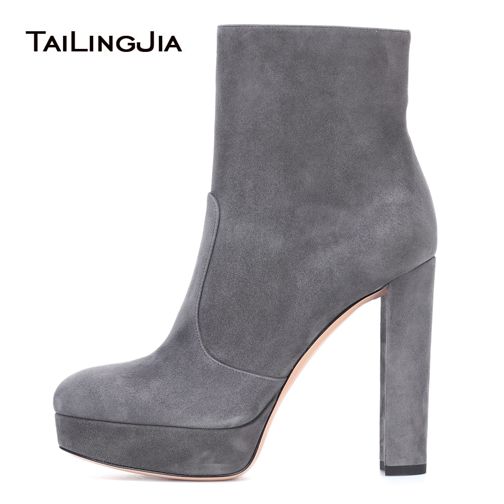 2018 New Women Round Grey Black Toe Faux Suede Ankle Boots Block High Heel Short Boots Platform Ladies Autumn Winter Shoes block platform high heel ankle short women boots medium chunky round toe shoes autumn 2017 vintage black booties chinese ladies
