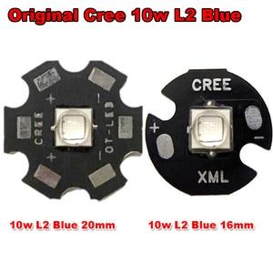 New 1pcs Original CREE 10W XML XM-L L2 Blue 460nm ~ 465nm + 20mm / 16mm Aluminum Heatsink For LED Chip Torch Light For Fishing