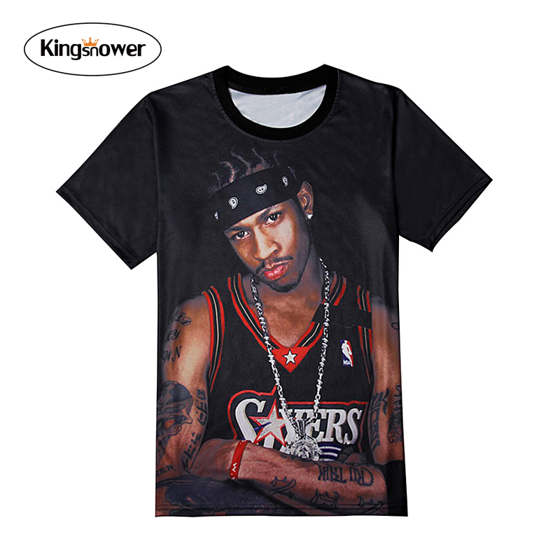 Brand Clothing 2016 Summer Men's T-shirt 3D Player Allen Iverson Printing T Shirts Mens Casual Tops Tee JA2151