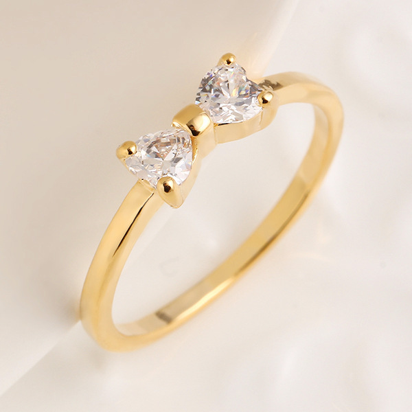 H:HYDE Austria Crystal rings Gold Color finger Bow ring wedding engagement Zirco