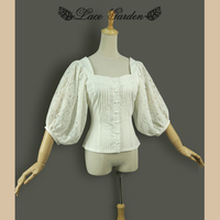 Vintage Women S Hollow Crochet Lace Sleeve Blouse Square Neck Lantern Sleeve Retro Top For Girl