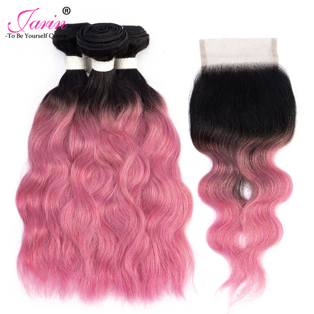 Peruvian Water Wave Human Hair 3 Bundles With Closure Ombre Rose