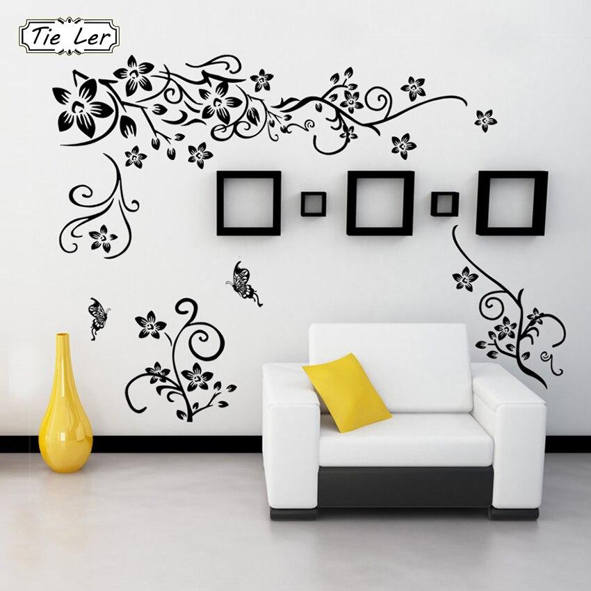 Hot DIY Wall Art Decal Decoration Black Flower Vine Wall Sticker TV Background Wall Stickers Home Decor 3D Wallpaper in Wall Stickers from Home Garden