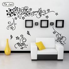 цена на Hot DIY Wall Art Decal Decoration Black Flower Vine Wall Sticker TV Background Wall Stickers Home Decor 3D Wallpaper