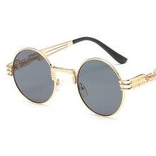 Vintage Gótico Steampunk Hombres gafas de Sol Redondas Mujeres de Lujo del Metal de Recubrimiento Espejo Gafas Retro UV400 Shades Gafas De Sol Hombre