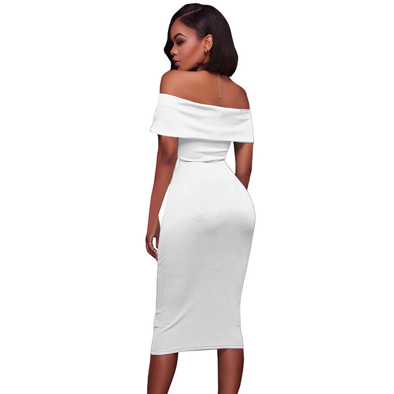 ADEWEL Women Sexy Off Shoulder Strapless Midi Dress Ruched Elegant Bodycon Dress Party Clubwear Pencil dress 36