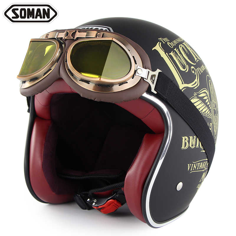 Motorcycle Helmet Retro Helmet Chopper Casco with Goggles Vintage Open Face Helm Casque Moto Capacetes de Motocicleta DOT SM512