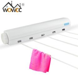 Cabide de parede de aço inoxidável retrátil cabide de roupas interior magia secagem rack de toalha retrátil clothesline secador de roupas