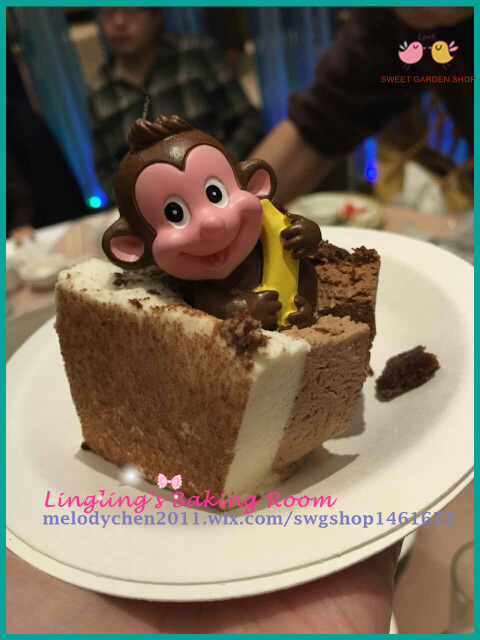 Lovely Sit Monkey Hug A Banana Design Birthday Candle Anime Candle