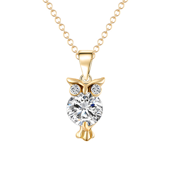 Fashion Owl Shaped Women's Zircon Pendant Necklace Jewelry Necklaces Women Jewelry Metal Color: Gold 32O39