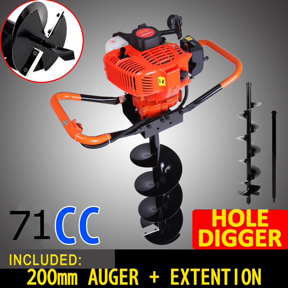 NEW 71cc 2 8kw Post Hole Digger Earth Auger Petrol Drill Bits Fence Borer Professional 200mm