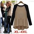 Blusas Femininas Плюс Размер XL-4XL Ruched майка Топы Асимметричная Длинные Рубашки С Длинным Рукавом T51145