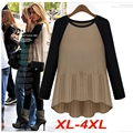 Blusas Femininas Plus Size XL-4XL Ruched T shirt Tops Asymmetric Long Shirt Long Sleeve T51145