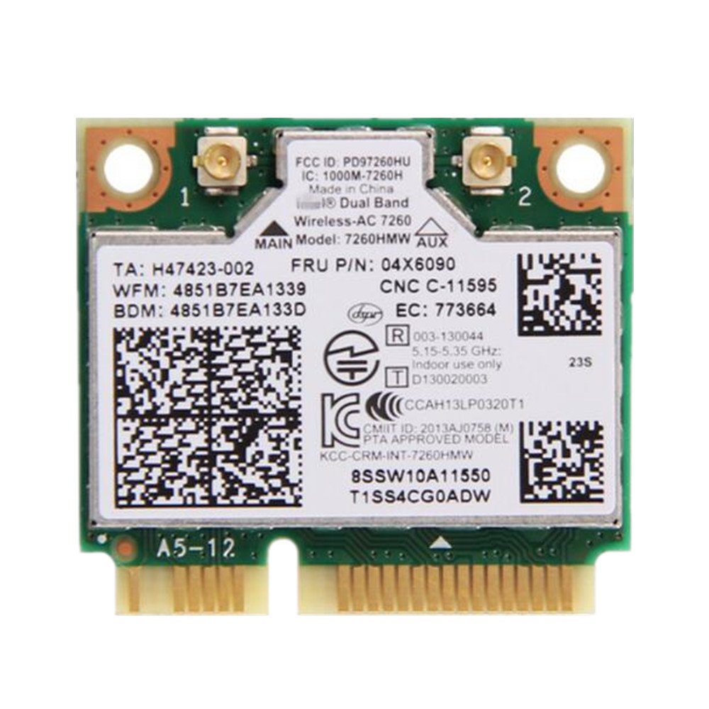 Dual Band For IBM Thinkpad Intel Wireless-AC 7260 7260HMW 802.11ac Mini PCI-E Wifi + Bluetooth 4.0 Wlan Card FRU 04X6090