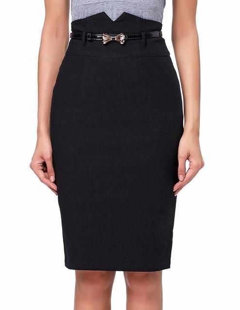 Las mujeres Faldas Jupe Courte OL Delgado 2016 algodón de la falda de Las Mujeres Laides Alta Cintura caderas Envueltas Falda lápiz Faldas Negro rojo falda