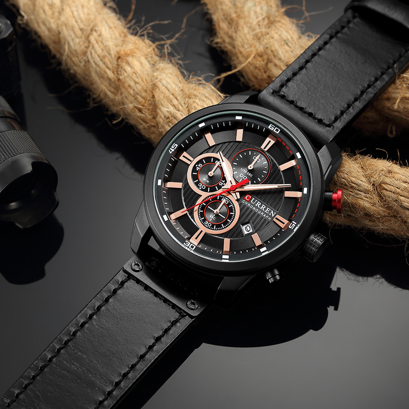 CURREN 8291 Luxury Brand Men Analog Digital Leather Sports Watches Men\`s Army Watch Man Quartz Clock Relogio Masculino drop shipping wholesale cheap full black (1)