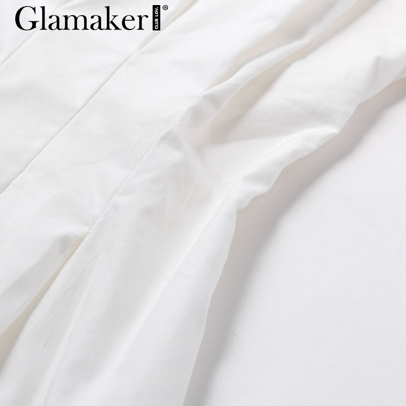 Glamaker Batwing sleeve white mini dress Women office lady pleated blouse shirt dress Autumn high waist slim elegant short dress 6