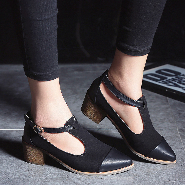 Office Women Pumps Shoes Woman Pointed Toe Shoes T-Strap Buckle Square Toe Ladies Med heels Shoes Fashion Gladiator Shoes