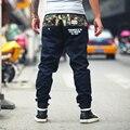 Бесплатная доставка Большой размер гарем длинные брюки комбинезоны камуфляж луч ноги широкий тонкие летние шнурок свободного покроя брюки s-5xl