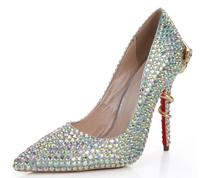 KAEVE  New SWeet Multicolour Genuine Leather Pointed Toe Shoes Thin Heels Shallow Womens wedding Crystal Pumps