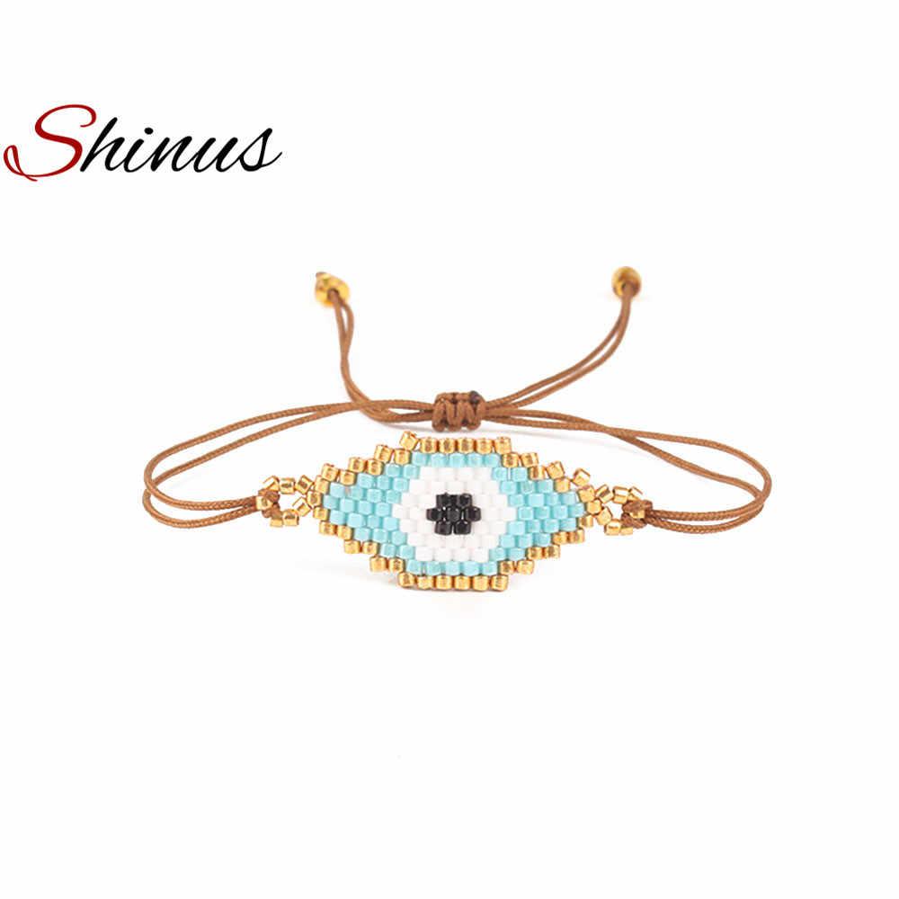 Shinus браслет evil eye MIYUKI браслеты Pulseras Турецкий Дурной глаз браслеты для женщин Bohem Bileklik летние украшения 2019