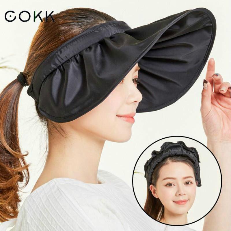 COKK Summer Hats For Women Sun Hat Female Sunscreen Beach Cap Visor Foldable Chapeu Feminino Wide Brim Portable New Toca