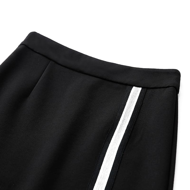 Mujer Falda Rodilla Longitud De La Minimalista Línea Militar Beige negro verde Amii 2019 gris Contraste Color Faldas azul Una Oscuro E4dPxqw