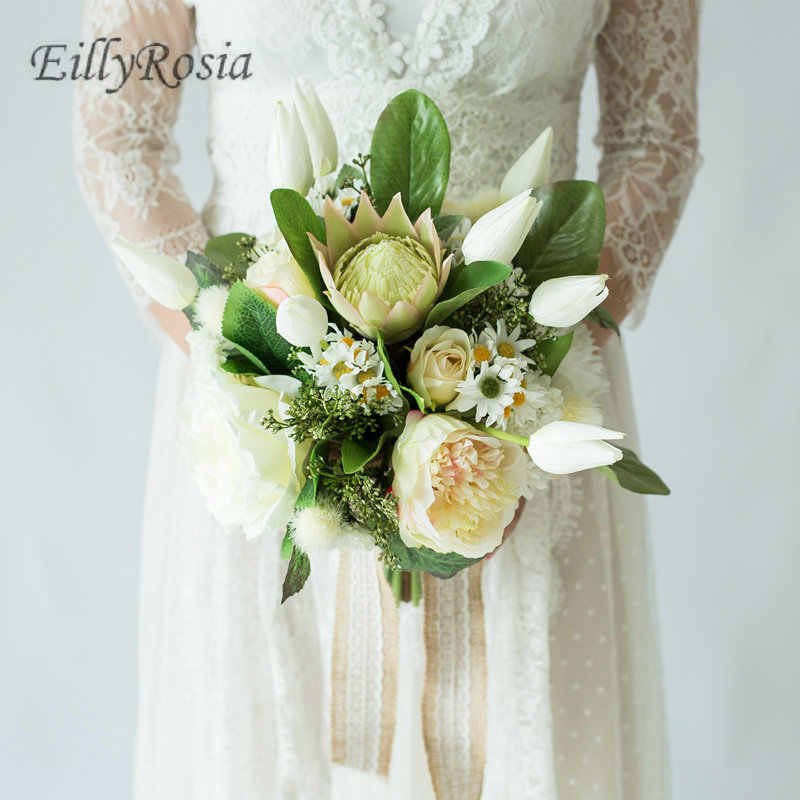 Peony Wedding Bouquets Bridal Country Style Green Leaf Tulip