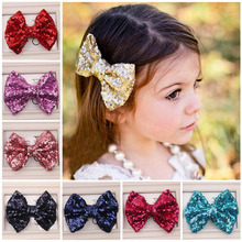 Newly Design Kids Girl Fashion Sequin Barrettes Bling Bling Big Bow Hair Clips Headbands Boutique Accessories Aug4
