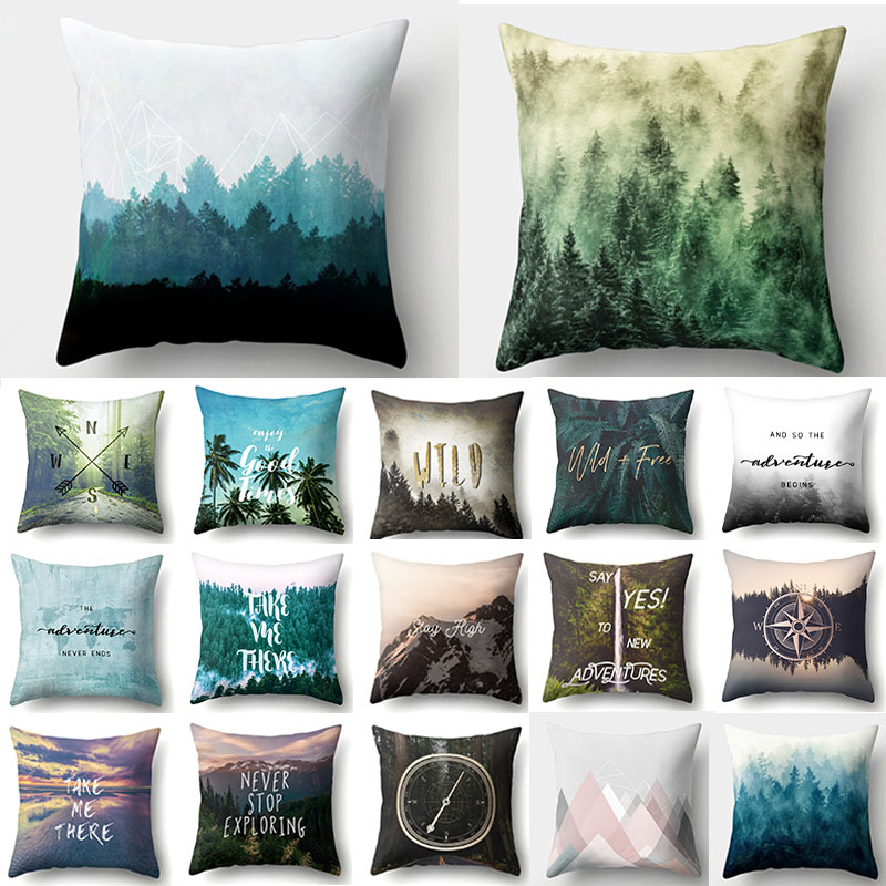 1Pcs Tree Forest Pattern Polyester Throw Pillow Cushion Cover Car Home Decor Decoration Sofa Bed Decorative Pillowcase 40524