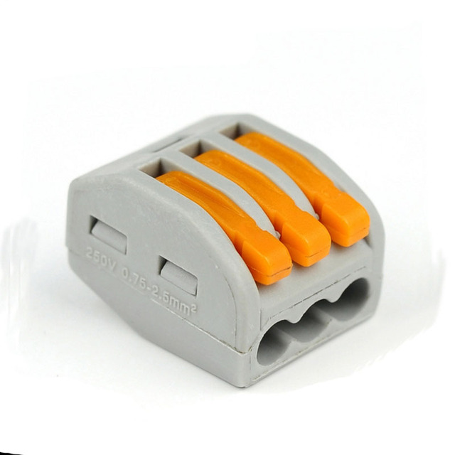 100pcs Free shipping PCT-213 Push wire wiring connector For Junction box 3 pin  conductor terminal block cable connector wago