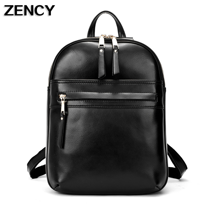 ZENCY New 2017 Backpacks Oil Wax Cowhide Women Real Genuine Leather Backpack School Bags Girls Beige/Black/Dark Blue Color zency genuine leather backpacks female girls women backpack top layer cowhide school bag gray black pink purple black color