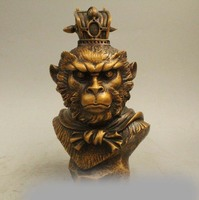 10 China Folk Copper Handsome Monkey King Sun Wu Kong Head Bust Statue Sculptur