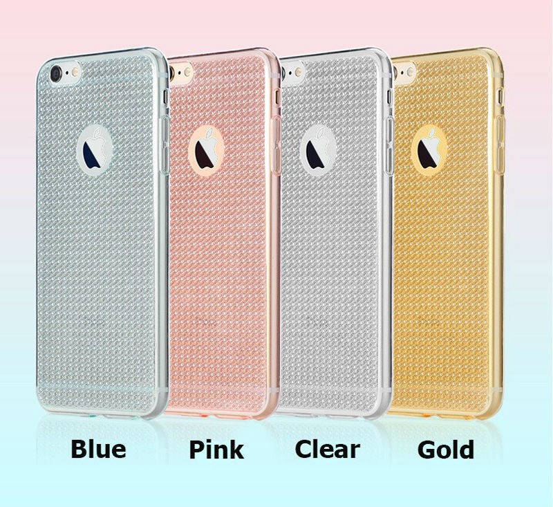 Diamonds Pattern Soft TPU Cas Pink Blue Silver Lattice-like Sparkling e for iPhone 6 6S 7 4.7