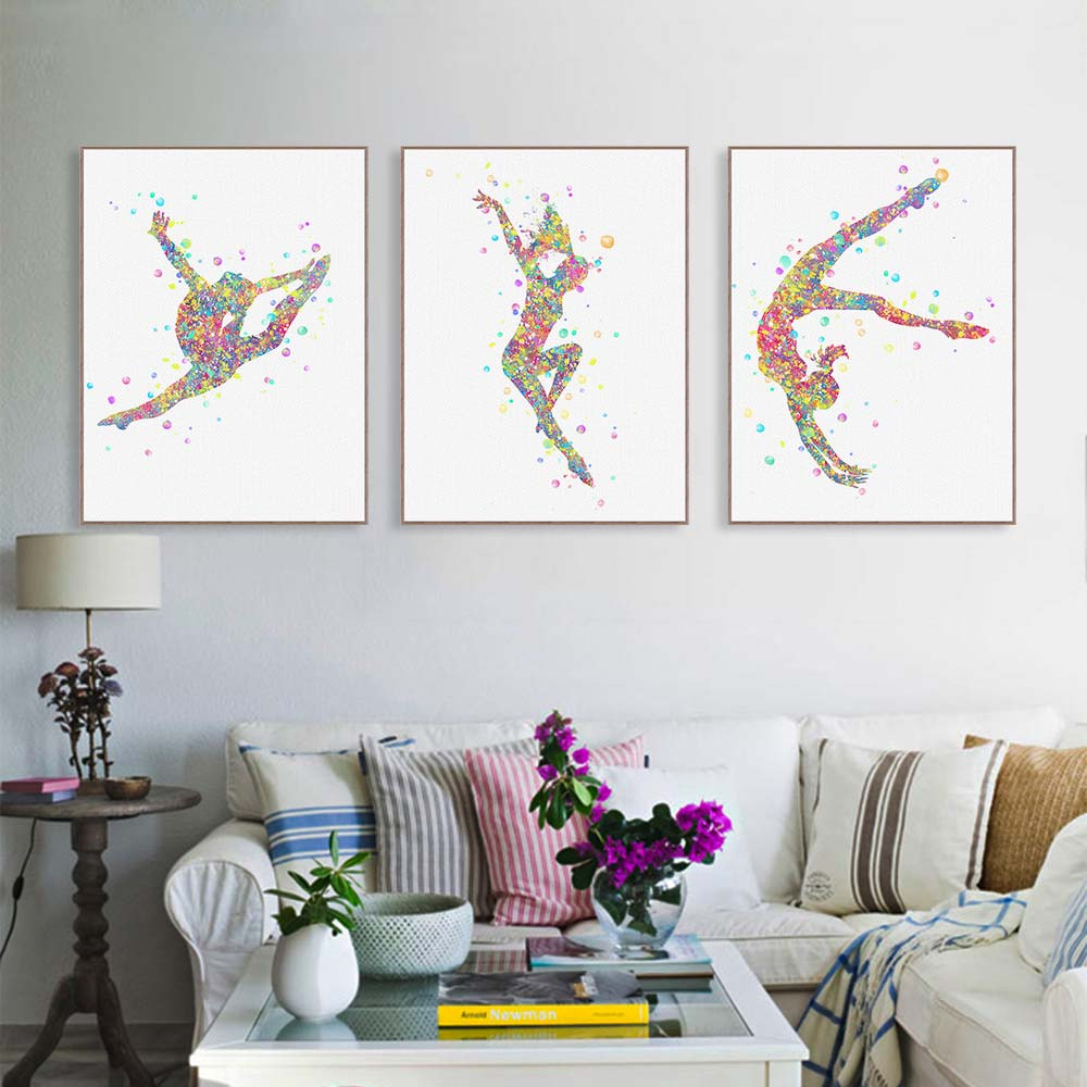 Modern Watercolor Gymnastics Exercise Canvas Painting
