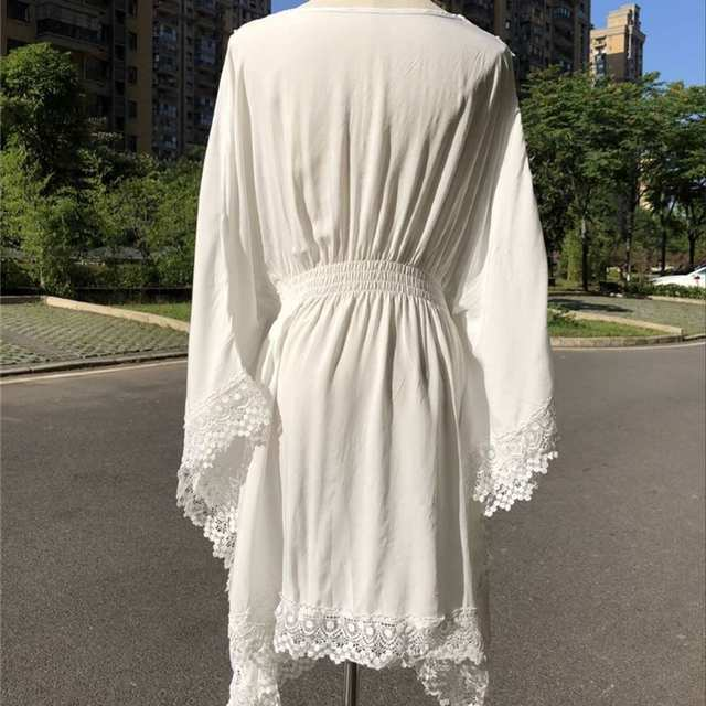 e3cc45d06cd93 Batwing Sleeve V Neck High Waist Scallop Edge White Boho Dress Long Sleeve  Summer Beach Tunic Casual High Street Dresses N515
