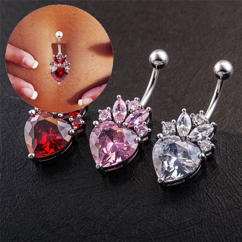 Cóctel 2019 Navel Percing Nombril Etoile Heart Clear Red Pink Crystal Gold-Color Belly Button Anillos Envío gratis