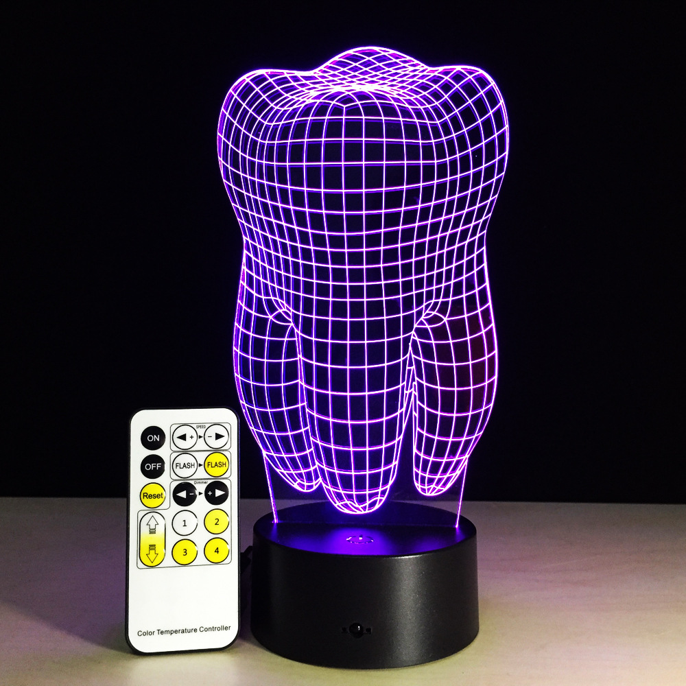 Tooth 3D Night Light RGB Changeable Mood Lamp LED Light DC 5V USB Decorative Lamp With Remote Touch Control Hospital Decor