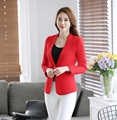 Formal Ladies Red Blazers Women Jackets Long Sleeve Elegant Slim Female Work Wear Clothes Office Uniform Style
