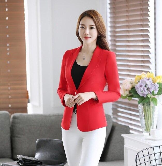 c13b64a960b3 Formal Ladies Red Blazers Women Jackets Long Sleeve Elegant Slim Female  Work Wear Clothes Office Uniform Style