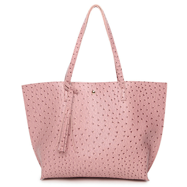 Lyudmyla Women Per Bag Black Large Ping Tote 2017 New Pu Leather Handbags Ostrich Bags Fashion