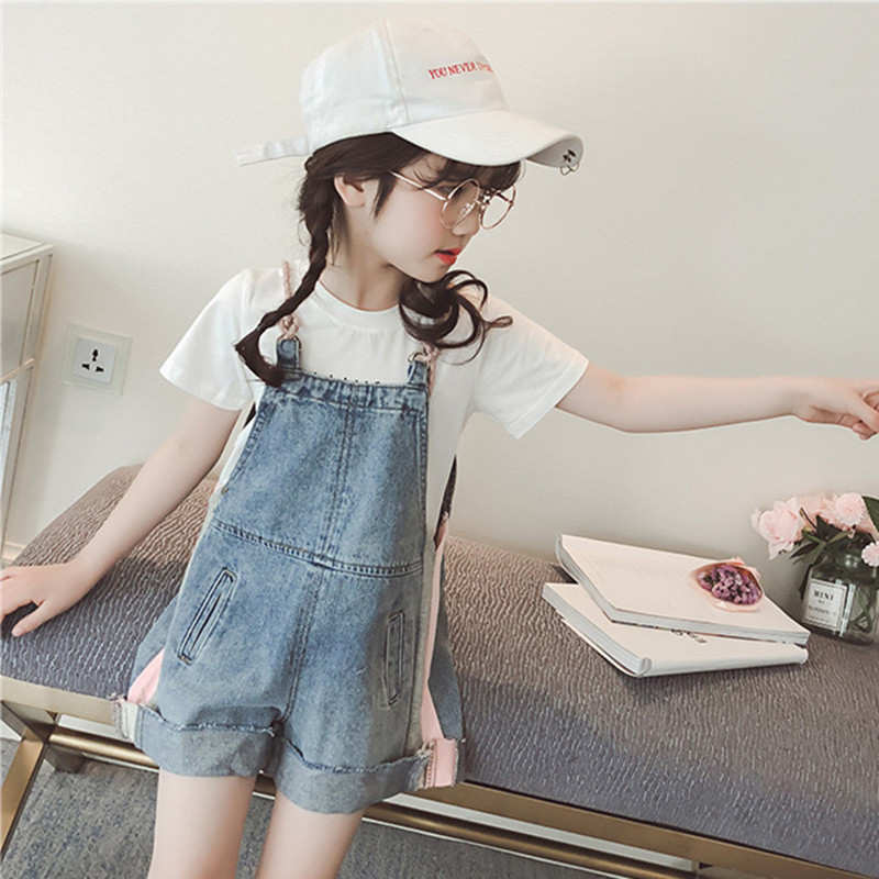 9cc88556e6b7 DFXD Korean Style Summer Teen Girls Jumpsuit High Quality Children Denim  Blue Loose Short Overalls Jeans Bib Pants For 4 12Years-in Overalls from  Mother ...
